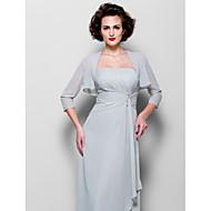 Women's Wrap Shrugs 3/4-Length Sleeve Chiffon Silver Wedding / Party/Evening Wide collar 39cm Draped Open Front