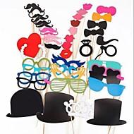 44 kpl kortti paperi Photo Booth rekvisiitta osapuoli hauskaa hyväksi (lasit& hattu& viikset& hat)