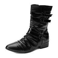 Men's Spring Fall Fashion Boots Leatherette Casual Flat Heel Black