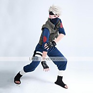 Innoittamana Naruto Hatake Kakashi Anime Cosplay-asut Cosplay Puvut Patchwork Sininen / Vihreä Pitkä hihaLiivi / Toppi / Housut /