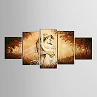 מצויר ביד אנשים חמישה פנלים בד ציור שמן צבוע-Hang For קישוט הבית