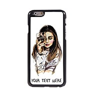 gepersonaliseerde telefoon geval - het meisje met een glas wijn ontwerp metalen behuizing voor de iPhone 6