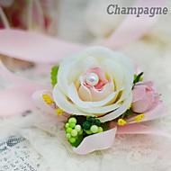 Simple Flat  Rose Bride Silk  Wedding Wrist Corsages  (More Colors)