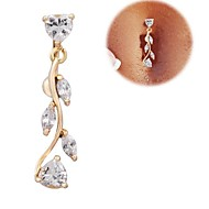 316l titane chirurgical zircon acier feuilles de saule pendentif anneau nombril lureme®fashion plaqué or