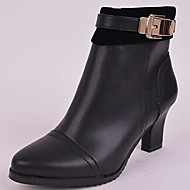 Women's Spring / Fall / Winter Fashion Boots / Round Toe Leather / Calf Hair Office & Career / Dress / Party & Evening Chunky HeelZipper