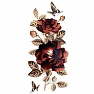 1pc Glitter Rose Waterproof Tattoo Pattern Temporary Tattoo Sticker for Body Art (18.5cm*8.5cm)