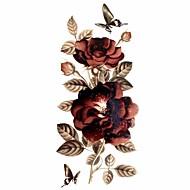 Séries Flores Tatuagem Adesiva - Estampado/Waterproof/Purpurina - para Feminino/Girl/Adulto/Adolescente - de Papel - Multicolorido -