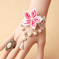 New Bride White Lace Pearl Flower Bracelet Ring Set