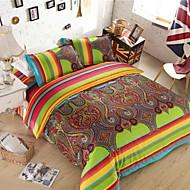 Stripe Polyester 4 Piece Duvet Cover Sets