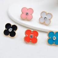 스터드 귀고리 아동/여성용 합금 귀걸이 라인석