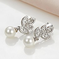 Drop Earrings Women's Brass Earring Pearl/Cubic Zirconia