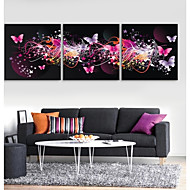 e-Home® allungata guidata arte canvas stampa l'effetto del flash led farfalla set di 3