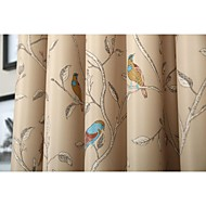 Room Darkening  Printing  Flower And Bird Curtain (Two Panel)