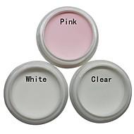 3pcs nail art acryl poeder sets (wit, roze, helder)