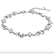 Ladies' Silver Chain Bracelet with Crystal