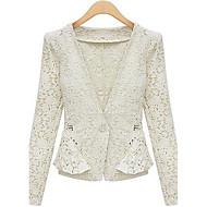 das mulheres weimeijia® lapela pescoço tudo combinando casaco de linho