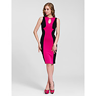 Cocktail Party Dress - Fuchsia/Ruby/White Sheath/Column Jewel Knee-length Cotton
