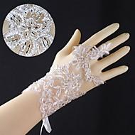 כפפות חתונה אצבעות אורך פרק כף יד תחרה עם אפליקציות עם asg46 אגלים