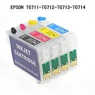bloom® Epson T0711 / T0712 / t0713 / t0714 refill blekkpatron til Epson Stylus D78 / D92 / SX100 / SX110 / SX200 (4 farger 1set)
