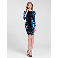 Cocktail Party Dress Sheath/Column Jewel Knee-length Cotton