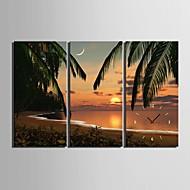 e-Home® ranta auringonlasku maisemia kello kankaalle 3kpl