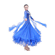 Ballroom Dance Outfits / Dresses Women's Performance / Training Mercerized Cotton / Elastic Silk-like Satin / TulleFuchsia / Light Blue /
