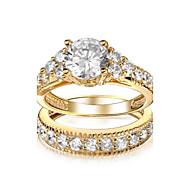 Unisex Brass Ring Cubic Zirconia Brass