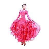Ballroom Dance Dresses Women's Performance / Training Mercerized Cotton Sequins Long Sleeve