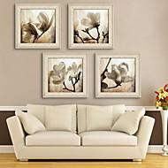 e-Home® inramade arbetsytan konst, magnolia inramade kanfastryck uppsättning av 4