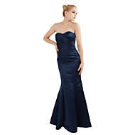 Floor-length Satin Bridesmaid Dress - Dark Navy Petite Trumpet/Mermaid Sweetheart