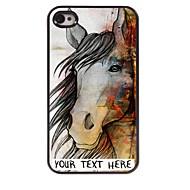 εξατομικευμένη περίπτωση τηλέφωνο - το σχέδιο άλογο μεταλλική θήκη για το iphone 4 / 4s