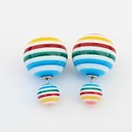 Women's Candy Color Block Stripe Two Balls Cute Stud Earrings