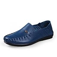 Men's Spring / Summer / Fall Comfort Leather Casual Flat Heel Black / Blue / Brown / Khaki