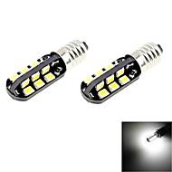 e10 2W 100lm 6000k 24-SMD 2835 LED blanches ampoules de voiture de lumière (2pcs / 12V DC)