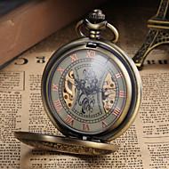 Heren Zakhorloge mechanische horloges Handmatig opwindmechanisme Hol Gegraveerd Legering Band Vintage Luxueus Brons Bronzen