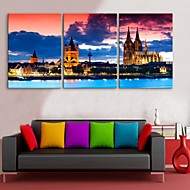 E-HOME® Stretched Canvas Art European Architecture Nightscape Decoration Painting Set of 3