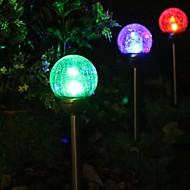 סט של 2 כדור זכוכית פצפוצי צבע שמש שינוי Stake מנורת אור גינה