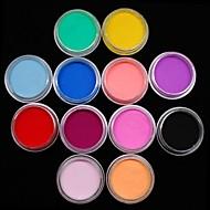 קישוט אמנות ציפורן כוח אקריליק צבעוני פיסול צבעי 12pcs