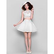 동창회 칵테일 파티 드레스 - 흰색 볼 가운 보석 짧은 / 미니 얇은 명주 그물 / 레이스