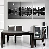 E-HOME® Stretched Canvas Art City Night Scene Decoration Painting Set of 3