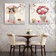 e-FOYER toile tendue art un vase et fleurs peinture décorative ensemble de deux