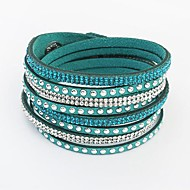 Leather Bracelet Rhinestone Bohemian Bangles Rivet Wrap Bracelet Fashion Wild Long Bangle Party Jewelry Gifts