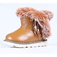 Girl's Boots Winter Comfort Snow Boots Faux Fur Calf Hair Outdoor Casual Athletic Flat Heel Magic Tape Hook & Loop Lace-up Tan