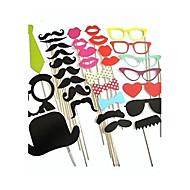 32pcs de décoration de mariage photo bricolage stand props moustaches sur un bâton faveur du parti