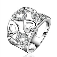 European Style Heart Shape Silver Plated Copper Hollow Zircon Ring(Silver)(1Pc)