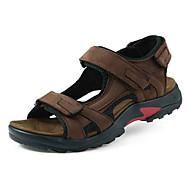 Men's Summer Slingback Leather Casual Flat Heel Magic Tape Brown / Khaki