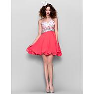 TS Couture® Dress - Watermelon Plus Sizes / Petite A-line One Shoulder Short/Mini Chiffon