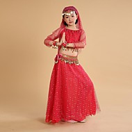 Belly Dance Outfits Children's Performance / Training Chiffon / Polyester Coins / Tassel(s) 3/4 Length Sleeve Natural