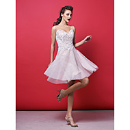 동창회 칵테일 파티 드레스 - 라인 / 공주 보석 무릎 길이 레이스 / 얇은 명주 그물 분홍색 얼굴이 빨개