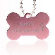 zilver huisdier persoonlijk cadeau bot vorm id naamplaatje met ketting voor honden